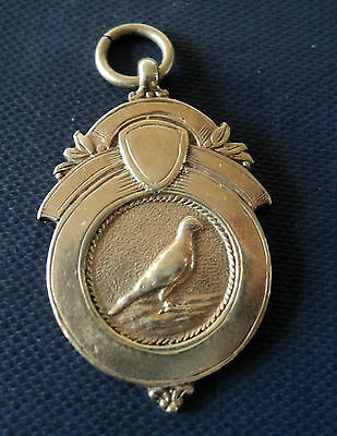 Vintage Sterling Silver Medal / Watch Fob / Pendant - Racing Pigeon h/m 1925
