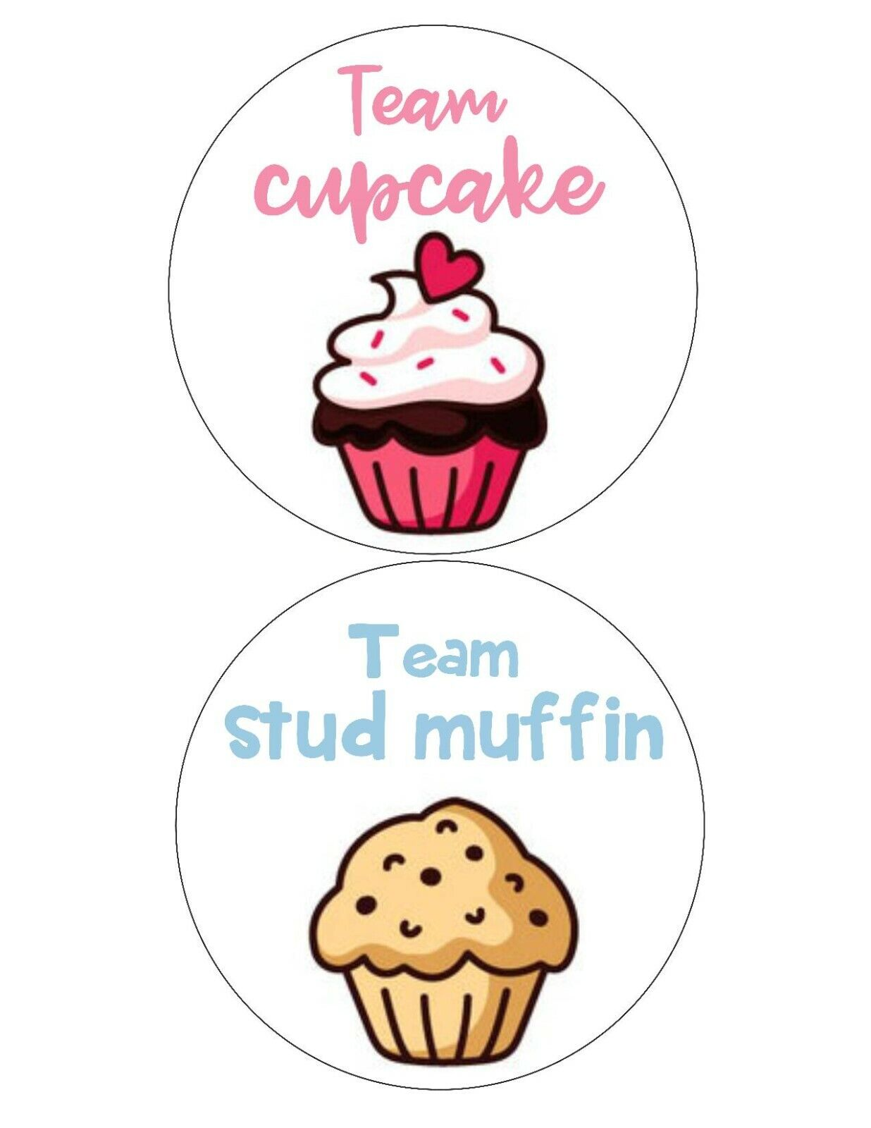 Gender Reveal party stickers- Team Cupcake or Stud muffin, b