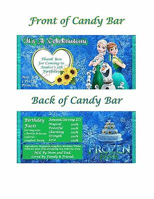 6 Frozen Fever Hershey Candy Bar Label Wrapper Party Favor Personalized - Frozen Candy Bar