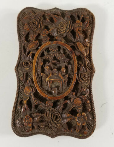 Antique Chinese Carved Boxwood Card Case Floral Decoration Scholars