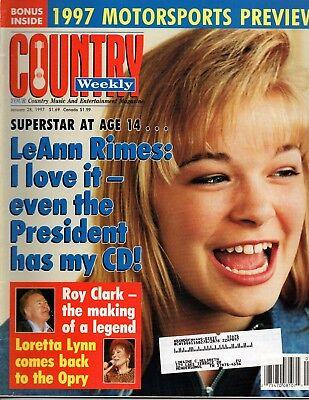 LeAnn Rimes January 28 1997 Country Weekly Magazine NASCAR Loretta Lynn