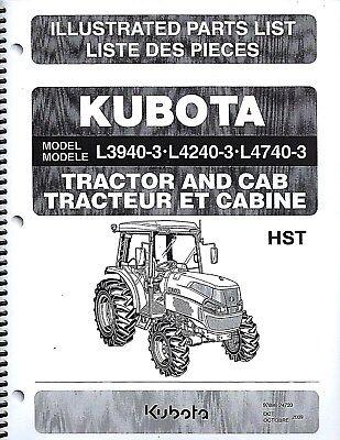 Kubota L3940-3 L4240-3 L4740-3 Tractor-cab Illustrated Parts Manual 97898-24720