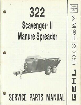 Gehl Company Manure Spreader Scavenger Ii 322 No. 904109 Tractor Parts Manual