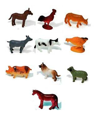 10-pc 2'' Plastic Toy Farm Animals, animal identification toy  Horse, Pig, - Plastic Toy Horses