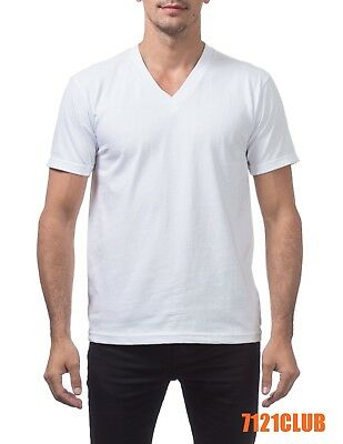 Plain White V-neck - PRO CLUB HEAVYWEIGHT V NECK T SHIRT WHITE ProClub Mens Plain Short Sleeve S-5XL