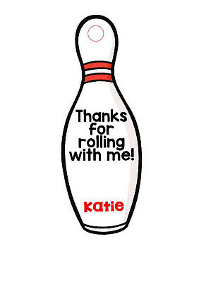 12 Personalized bowling pin birthday party favor tags. Bowling alley, bowl.  ()
