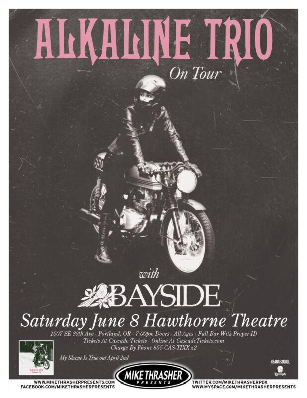 "ALKALINE TRIO/ BAYSIDE ""ON TOUR"" 2013 PORTLAND CONCERT POSTER- Punk, Alternative"