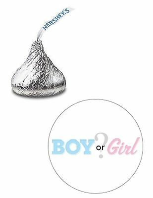 108 BOY OR GIRL GENDER REVEAL BABY SHOWER HERSHEY KISS KISSES CANDY STICKERS* - Gender Reveal Stickers