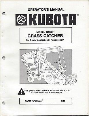 Kubota Model Gc60f Grass Catcher Operator Manual 76700-58002