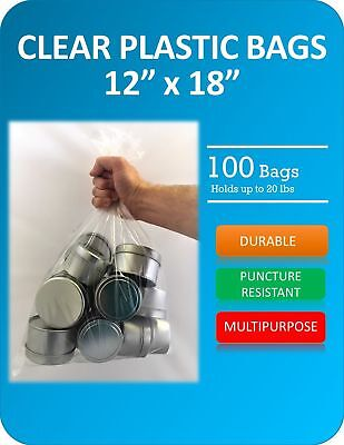Clear Plastic Bags 12 X 18 Inches 100 Pack Flat With Opening On One Side