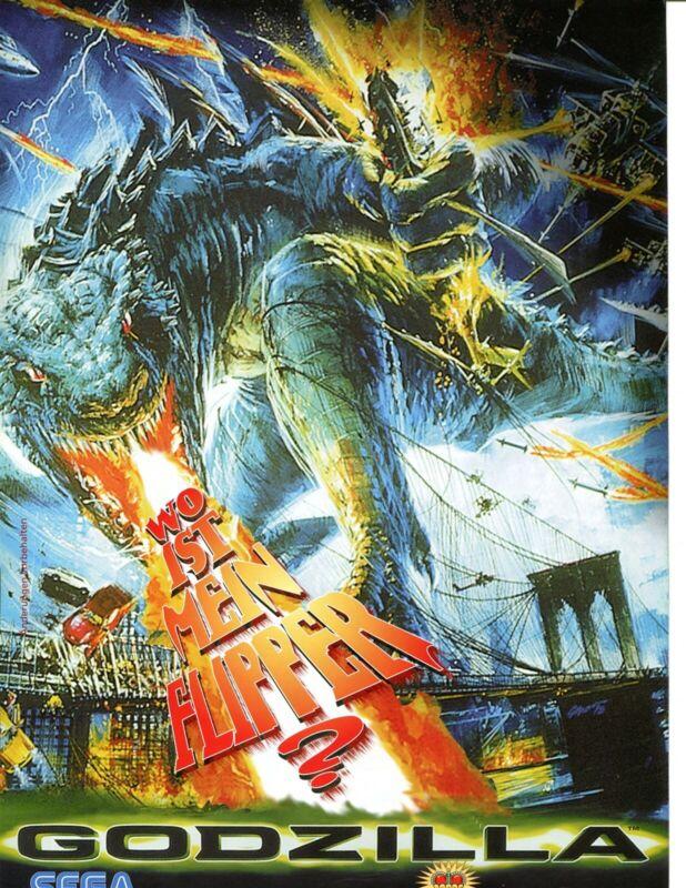 Godzilla German Sega Pinball Flyer Mint / Brochure / Ad