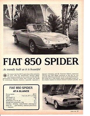 1968 FIAT 850 SPIDER ~ ORIGINAL 3-PAGE ROAD TEST / ARTICLE / AD