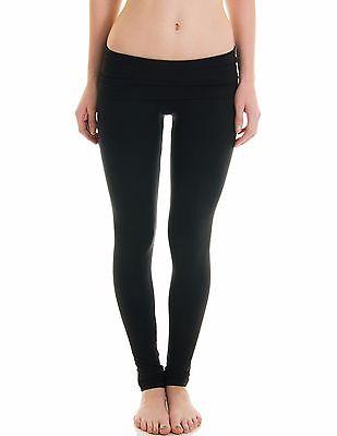 Kalon Clothing Fold Over Athletic Lightweight Leggings Junior Fit Black Small