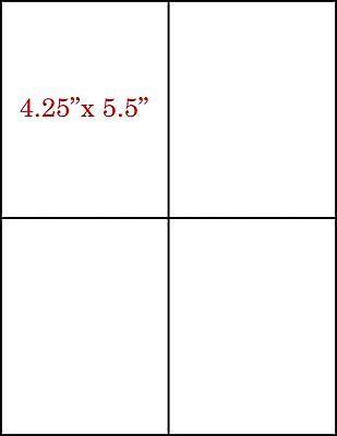 4 -1 14 Quarter Sheets Self Adhesive Shipping Mailing Labels 4.25 X 5.5