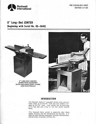 Rockwell International 37-315 8-inch Long-bed Jointer Instruction Maint Manual