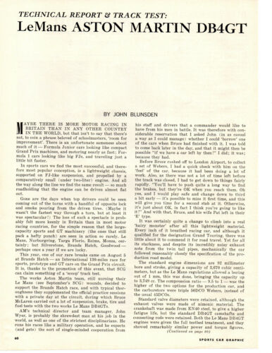 1963 LE MANS ASTON MARTIN DB4GT ~ ORIGINAL 4-PAGE TRACK TEST ARTICLE / AD