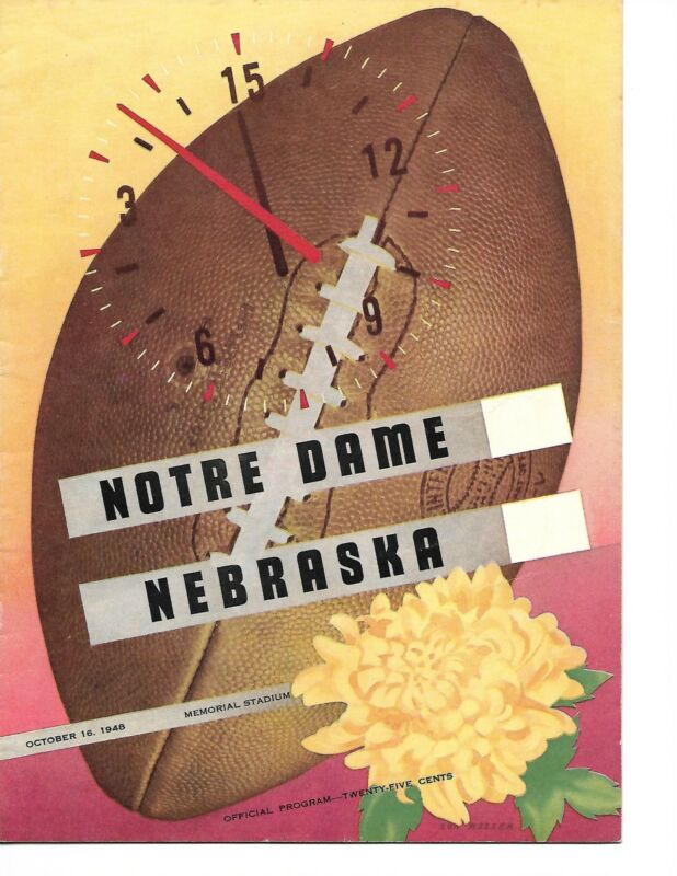 1948 Nebraska-Notre Dame Program Fighting Irish Cruise Past Huskers GEM!!