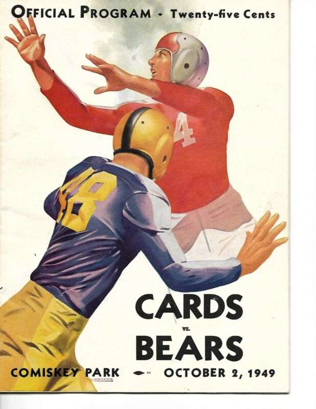1949 Chicago Cardinals-Bears Program Bears Bruise Cards NICE!!