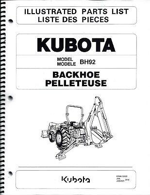 Kubota Bh92 Backhoe Illustrated Parts Manual 97898-32022