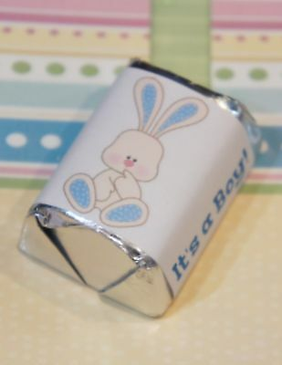 30 Baby Shower It's A Boy Blue Bunny Hershey Candy Nugget Wrappers Stickers (Boy Candy Wrappers)