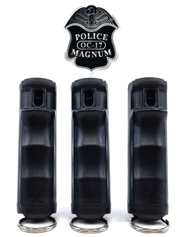3 PACK Police Magnum Pepper Spray 1/2oz Black Flip Top Keychain Defense Security