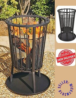 ‼️ Fire Pit Round Outdoor Basket Log Burner Heating Garden Patio Log BBQ Bowl