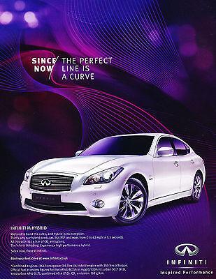 2012 Infiniti M35h Hybrid M - Vintage Advertisement Car Print Ad J385