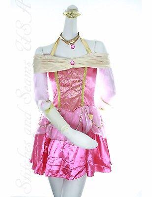 Aurora Disney Princess dress Womens Halloween Costume Size Medium Pink Dress
