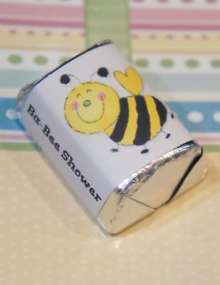 60 Baby Shower Bumble Bee Hershey Candy Nugget Wrappers Stickers - Bumble Bee Candy