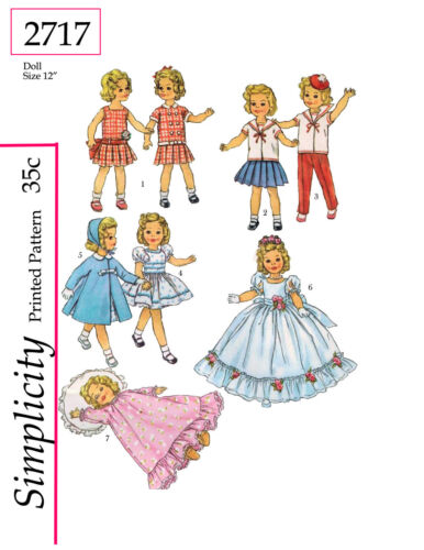 Simplicity 2717 - for 12 inch dolls such as shirley temple
