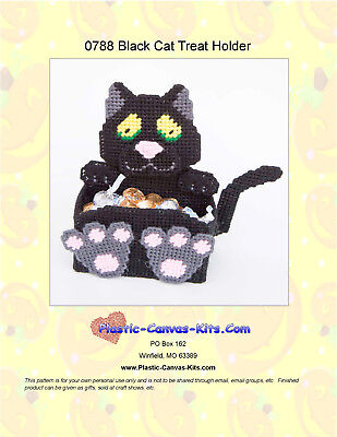 Black Cat Treat Holder-Halloween- Plastic Canvas Pattern or Kit](Halloween Kit Kat)