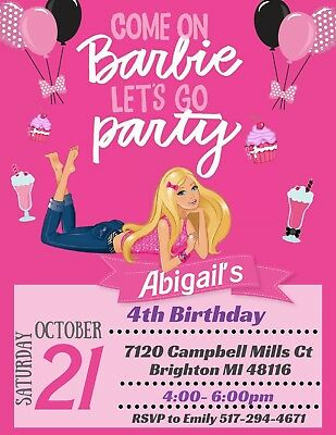 BARBIE theme Party Invitation Personalized Custom  You Print - Barbie Birthday Theme