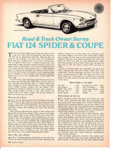 1970 FIAT 124 SPIDER & COUPE ~ ORIGINAL 3-PAGE OWNERS SURVEY / ARTICLE / AD
