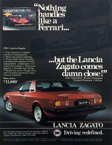 "1981 Lancia Zagato Coupe photo ""Handles Like a Ferrari"" vintage print ad"