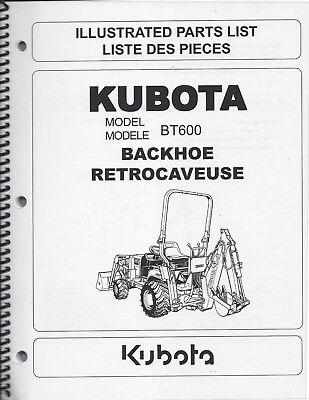 Kubota Bt600 Backhoeillustrated Parts Manual 97898-41400