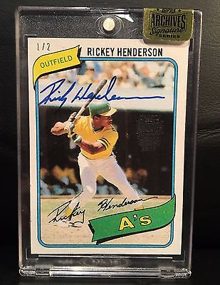 Rickey Henderson 2015 Topps Archives Buy Back On Card Autograph 1980 Rc 1 2