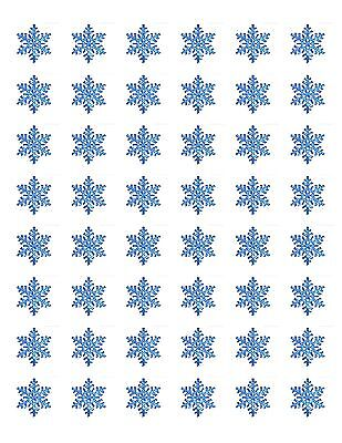 48 BLUE SNOWFLAKE ENVELOPE SEALS LABELS STICKERS 1.2
