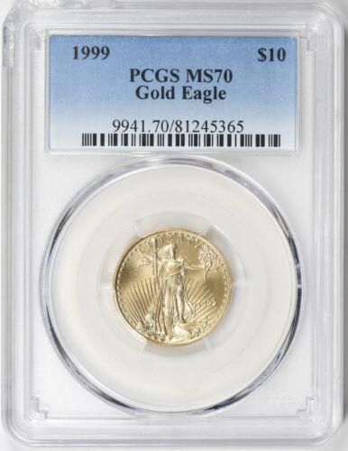 1999 $10 GOLD EAGLE PCGS MS70 Low Mintage