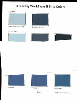 U.S.NAVY  # 1  - WW2 Ship Color paint chip charts  - 2 sheets, 20 colors, new