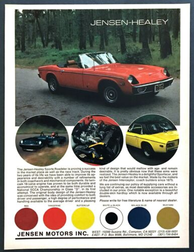 1975 Jensen -Healey Sports Roadster photo Success on Race Track vintage print ad