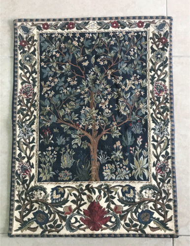 """FLORAL WALL HANGING VERY FINE DETAILS VINTAGE  WOVEN TAPESTRY 18""""X24"""" N-5"""