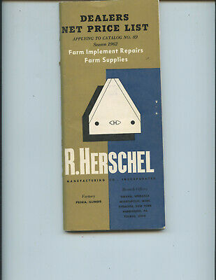1962 R. Herschel Farm Implement Repairs Supplies Dealer Price List Catalog