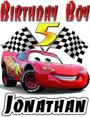 Disney Cars Birthday Shirt - Lightning McQueen ADD NAME & AGE FOR FAMILY PARTY