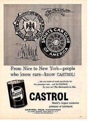 1958 CASTROL OIL ~ ORIGINAL PRINT AD