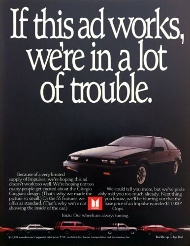 "1985 Isuzu Impulse Coupe photo ""A Giorgio Giugiaro Design"" vintage print ad"
