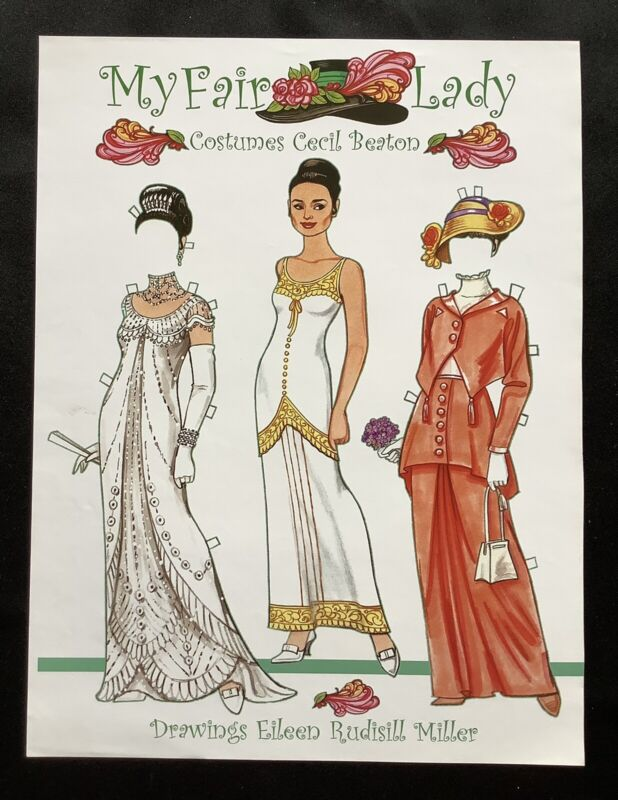 My Fair Lady, Audrey Hepburn Paper Doll Page by Eileen Rudisill Miller