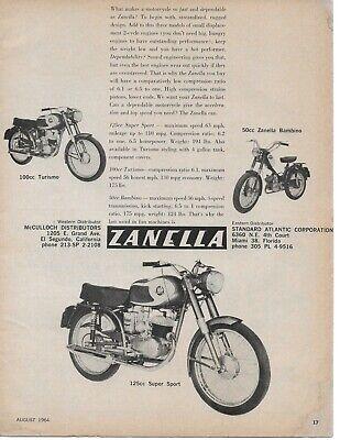 1964 Zanella 125cc Super Sport Turismo Motorcycle Bike Vintage Original Print Ad segunda mano  Embacar hacia Argentina