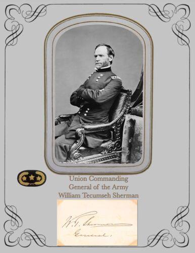 Civil War Commanding General of the Army Wm Tecumseh Sherman  Photo & Autograph