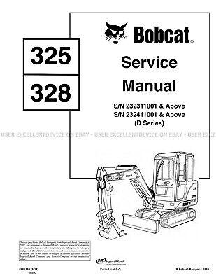 Bobcat 325 328 D-series Excavators Printed Service Manual 2012 Update 6901138