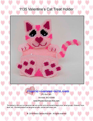 Valentine's Day Pink Cat Treat Holder-Plastic Canvas Pattern or Kit](Valentine Treats)
